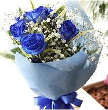 5 adet mavi gülden buket çiçeği  Ankara gimat çiçek satışı