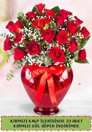 Kırmızı kalp içerisinde 23 adet kırmızı gül  Ankara gimat çiçek satışı