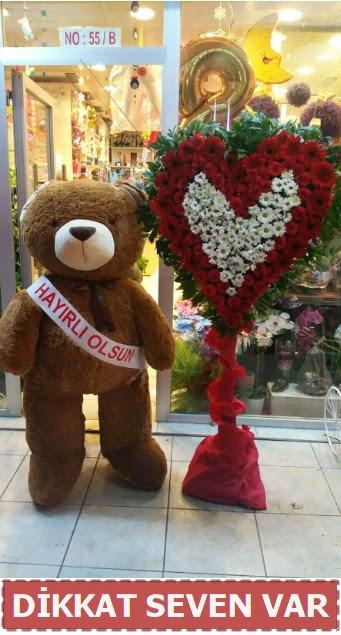 1.5 Metre peluş ayı ve Kalp  Ankara ostim çiçek gönderme sitemiz güvenlidir