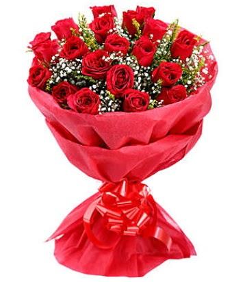 21 adet kırmızı gülden modern buket  Ankara sincan çiçek gönderme