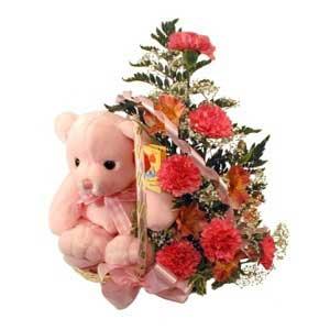 sepette karanfiller ve ayicik   Ankara etimesgut çiçek , çiçekçi , çiçekçilik