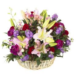sepet içerisinde mevsim çiçeklerinden aranjman  Ankara bilkent çiçek online çiçek siparişi