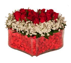 Ankara yenimahalle online çiçek gönderme sipariş  Mika kalp içerisinde 9 adet kirmizi gül tanzimi