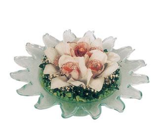 Ankara çayyolu hediye sevgilime hediye çiçek  Cam içerisinde 3 adet kandil orkide