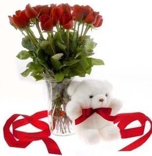 Ankara gimat çiçek satışı  8 adet kirmizi gül ve pelus ayicik  Ankara varlık mahallesi çiçek siparişi vermek