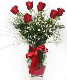 7 adet gülden cam içerisinde güller  Ankara 14 şubat sevgililer günü çiçek