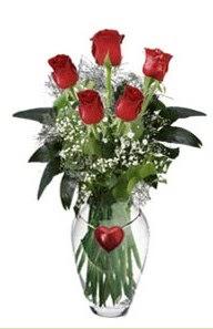 Ankara şentepe internetten çiçek siparişi  5 adet kirmizi gül ve kalp çubuklu