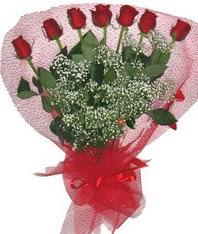 7 adet kipkirmizi gülden görsel buket  Ankara hacettepe çiçek mağazası , çiçekçi adresleri