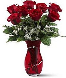Vazo içinde 8 adet kirmizilar içinde güller  Ankara şentepe internetten çiçek siparişi