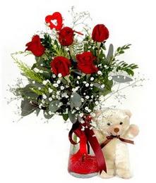 Ankara yurtiçi ve yurtdışı çiçek siparişi  5 adet kirmizi gül ve pelus ayicik kalp çubuk