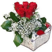 Ankara kardelen güvenli kaliteli hızlı çiçek  kalp mika içerisinde 7 adet kirmizi gül