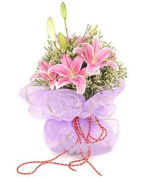 3 dal kazablanka görsel buketi  Ankara karacakaya internetten çiçek satışı