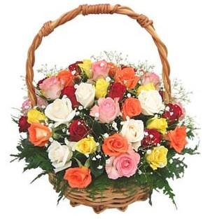 Ankara şentepe internetten çiçek siparişi  29 adet rengarenk gül sepeti tanzimi