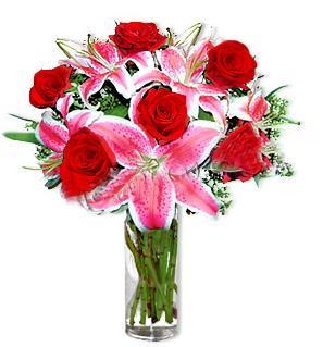 Ankara batıkent çiçek yolla  1 dal cazablanca ve 6 kırmızı gül çiçeği