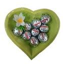 Seramik Kalp içerisinde 9 adet çikolata