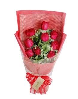 9 adet kırmızı gülden görsel buket  Ankara demetevler ucuz çiçek gönder