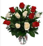 Vazo içerisinde 6 kırmızı 6 beyaz gül  Ankara ivedik hediye çiçek yolla