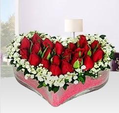 Kalp içerisinde 10 adet kırmızı gül  Ankara anneler günü çiçek yolla
