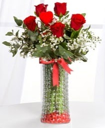 Cam vazoda 5 adet kırmızı gül kalp çubuk  Ankara demetevler ucuz çiçek gönder