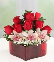 3 kandil orkide 5 kırmızı gül kalp mika  Ankara karacakaya internetten çiçek satışı