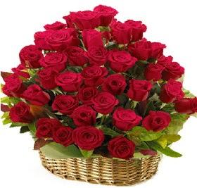 41 adet kırmızı gül sepet içerisinde  Ankara bilkent çiçek online çiçek siparişi