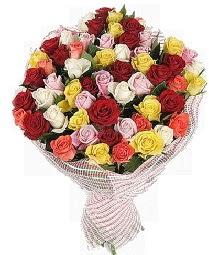 51 adet rengarenk gül buketi  Ankara hacettepe çiçek mağazası , çiçekçi adresleri