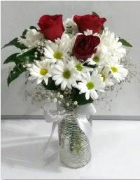 cam vazoda 3 adet kırmızı gül ve papatyalar  Ankara karacakaya internetten çiçek satışı