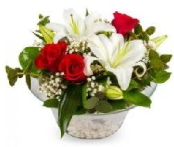 Cam içerisinde 2 kandil kazablanka 5 gül  Ankara şentepe internetten çiçek siparişi
