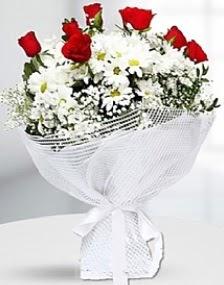 7 kırmızı gül ve papatyalar buketi  Ankara karacakaya internetten çiçek satışı