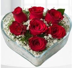 Kalp içerisinde 7 adet kırmızı gül  Ankara ümitköy çiçek servisi , çiçekçi adresleri