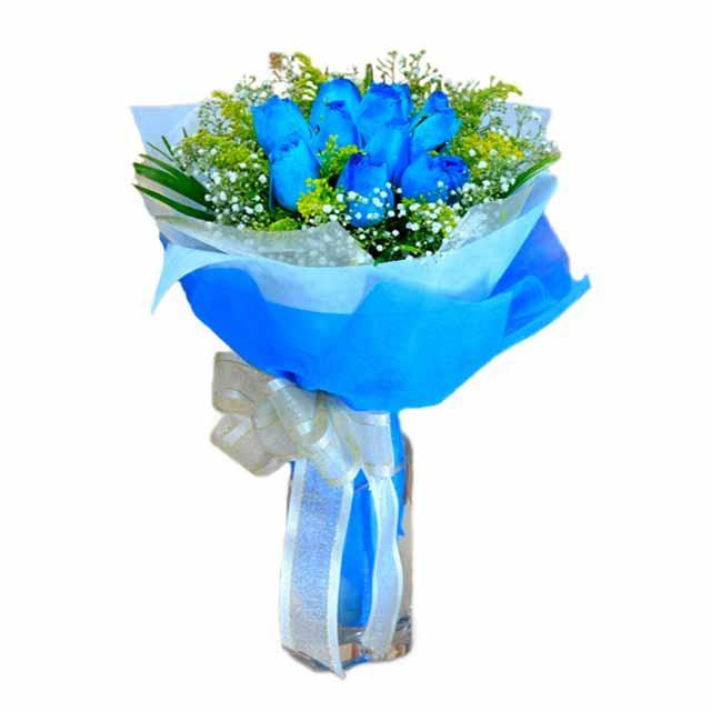 7 adet mavi gül buketi  Ankara etimesgut çiçek , çiçekçi , çiçekçilik