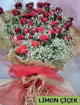Kız isteme çiçeği buketi 33 kırmızı gülden  Ankara karacakaya internetten çiçek satışı