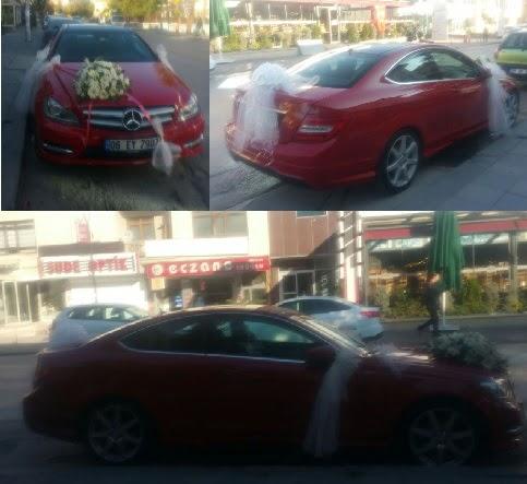 Gelin arabası süslemesi Düğün araba süs  Ankara eryaman çiçekçi telefonları
