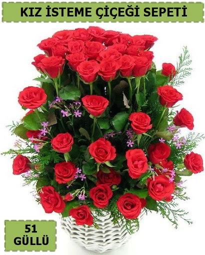 51 ADET KIRMIZI GÜLDEN KIZ İSTEME SEPETİ  Ankara batıkent çiçek yolla