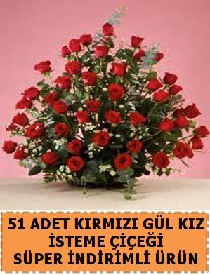 51 Adet kırmızı gülden kız isteme çiçeği  Ankara karacakaya internetten çiçek satışı