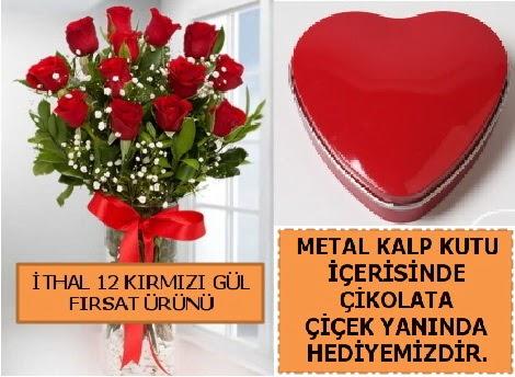 12 adet kırmızı gül ve kalp kutuda çikolata  Ankara eryaman çiçekçi telefonları