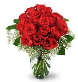 25 adet kırmızı gül cam vazoda  Ankara etimesgut çiçek , çiçekçi , çiçekçilik