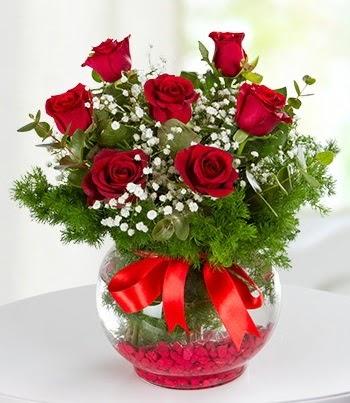 fanus Vazoda 7 Gül  Ankara etimesgut çiçek , çiçekçi , çiçekçilik