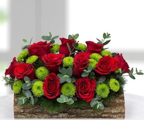 Silindir kütükte 11 kırmızı gül ve krizantem  Ankara karacakaya internetten çiçek satışı