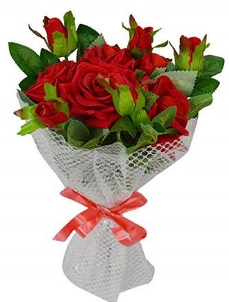 9 adet kırmızı gülden sade şık buket  Ankara eryaman çiçekçi telefonları