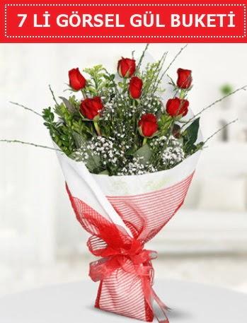 7 adet kırmızı gül buketi Aşk budur  Ankara gimat çiçek satışı