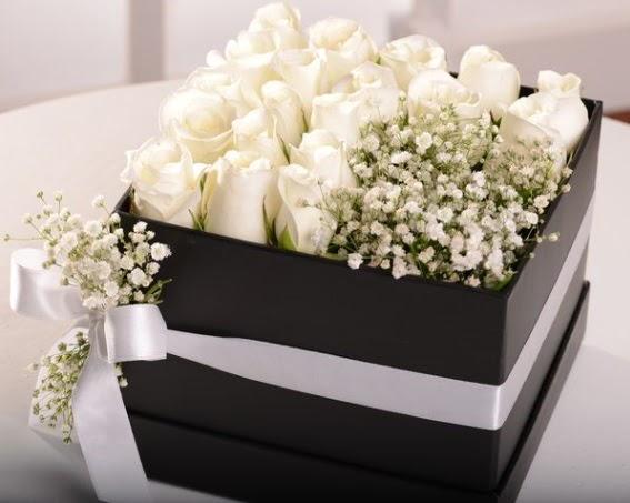 Kutu içerisinde 19 beyaz gül ve cipsofilya  Ankara etimesgut çiçek , çiçekçi , çiçekçilik