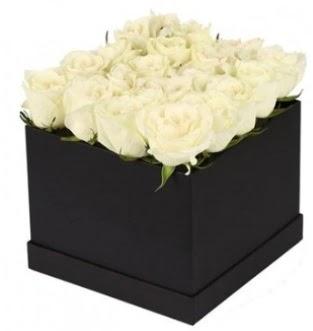 Kare kutuda 19 adet beyaz gül aranjmanı  Ankara eryaman çiçekçi telefonları